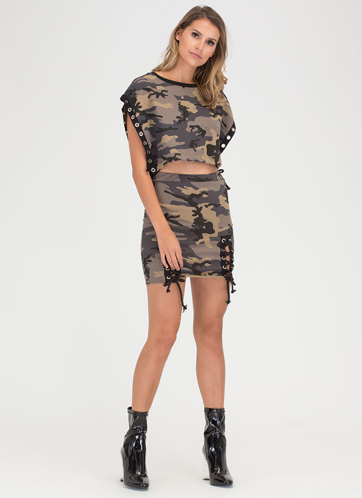 Cute Cadet Lace-Up Camo Two-Piece Dress CAMOUFLAGE