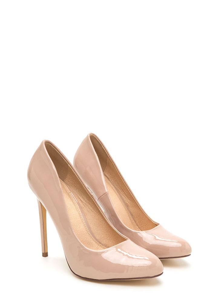 Work For It Faux Patent Pumps NUDE