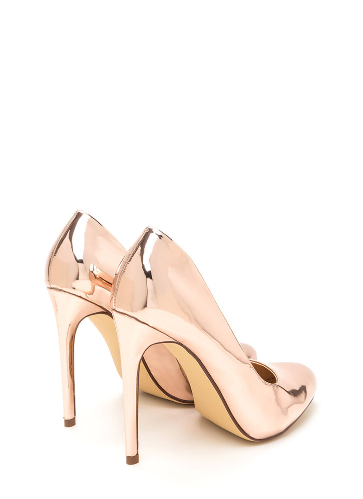 Work For It Shiny Metallic Pumps ROSEGOLD