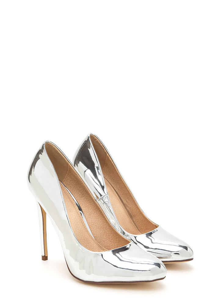 Work For It Shiny Metallic Pumps SILVER