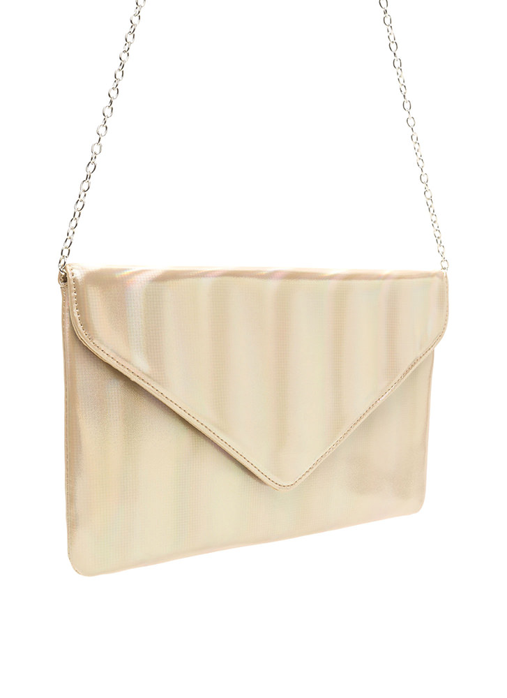 Light It Up Shiny Envelope Clutch GOLD