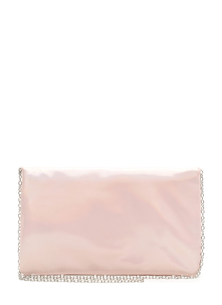 Light It Up Shiny Envelope Clutch PINK