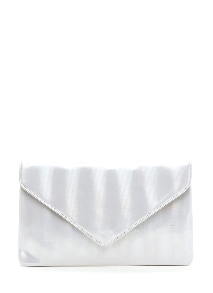 Light It Up Shiny Envelope Clutch SILVER