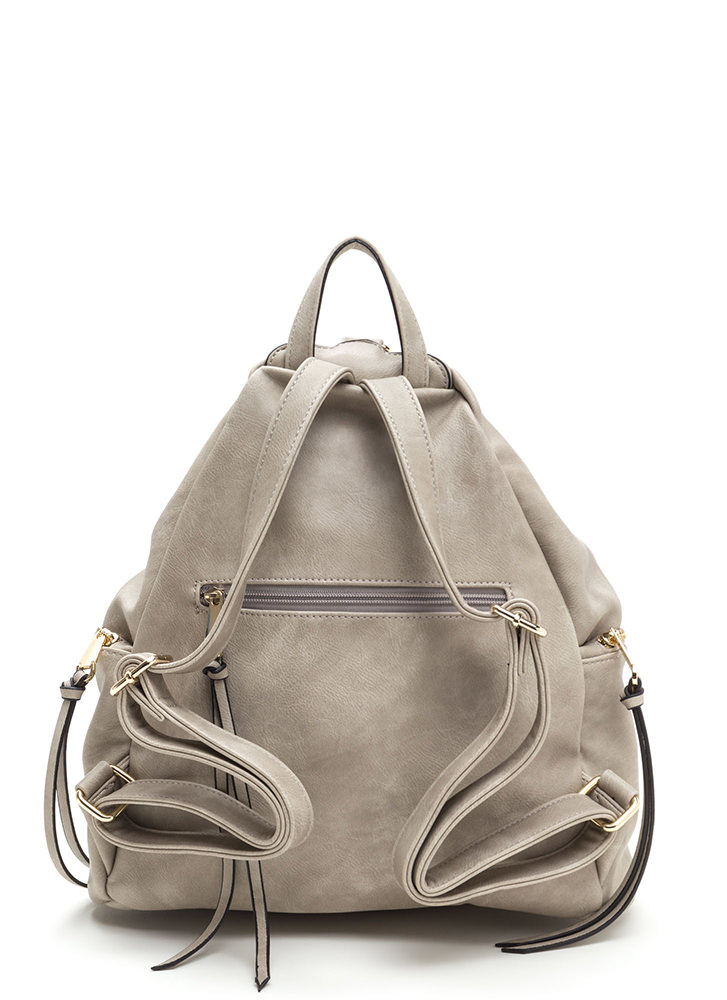 Daily Commute Faux Leather Clip Backpack GREY