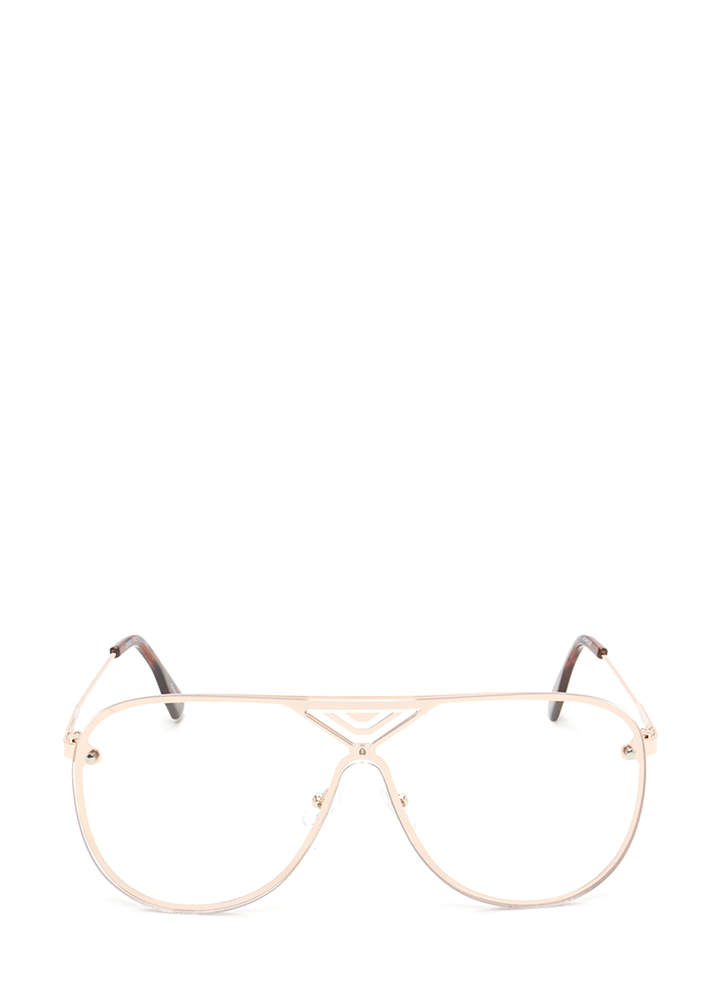 Let's Make It Clear Aviator Glasses GOLD