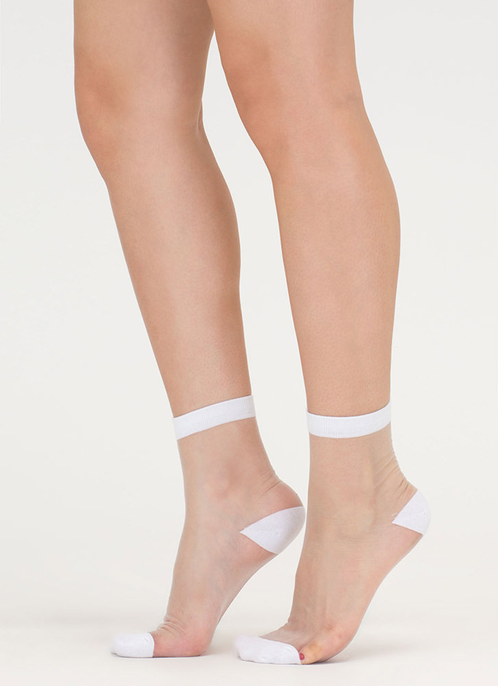 Can You Be Sheer Mesh Ankle Socks WHITE (Final Sale)