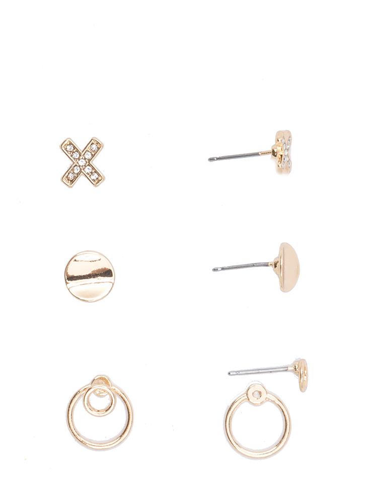 X Marks The Spot Sparkly Earring Set GOLD