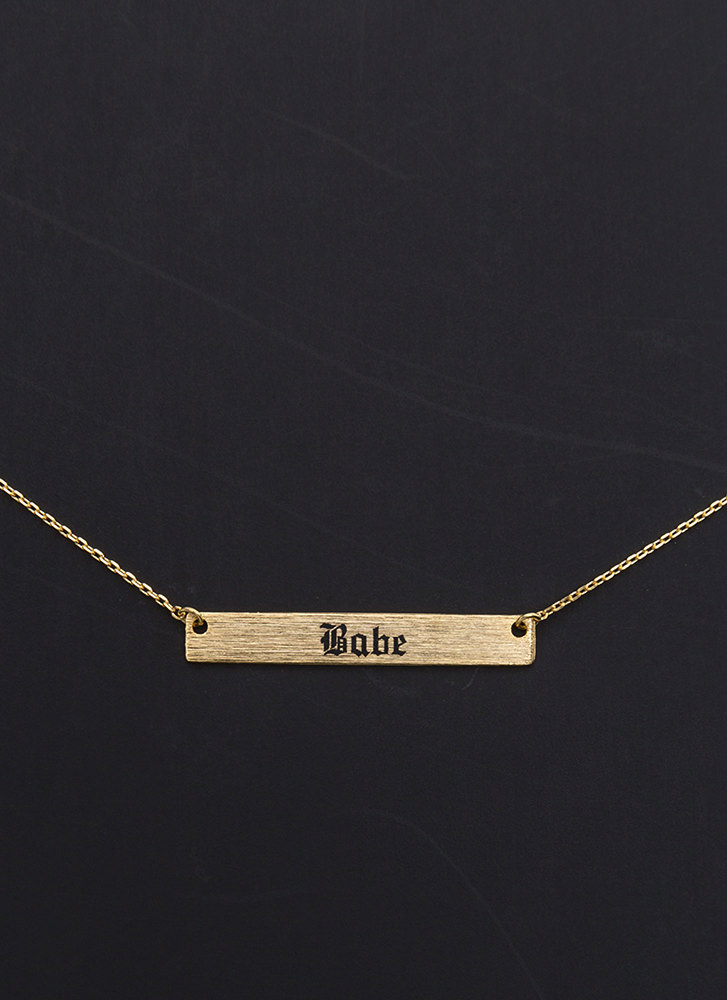 Such A Babe Bar Charm Necklace GOLD