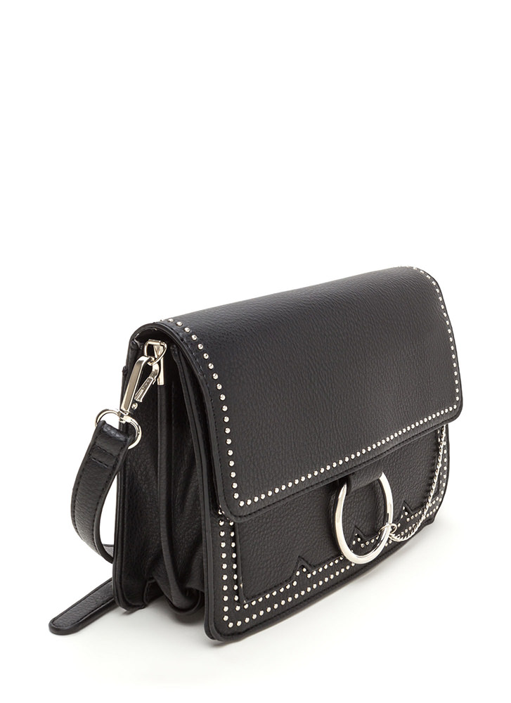 Chic Future Studded Ring 'N Chain Bag BLACK