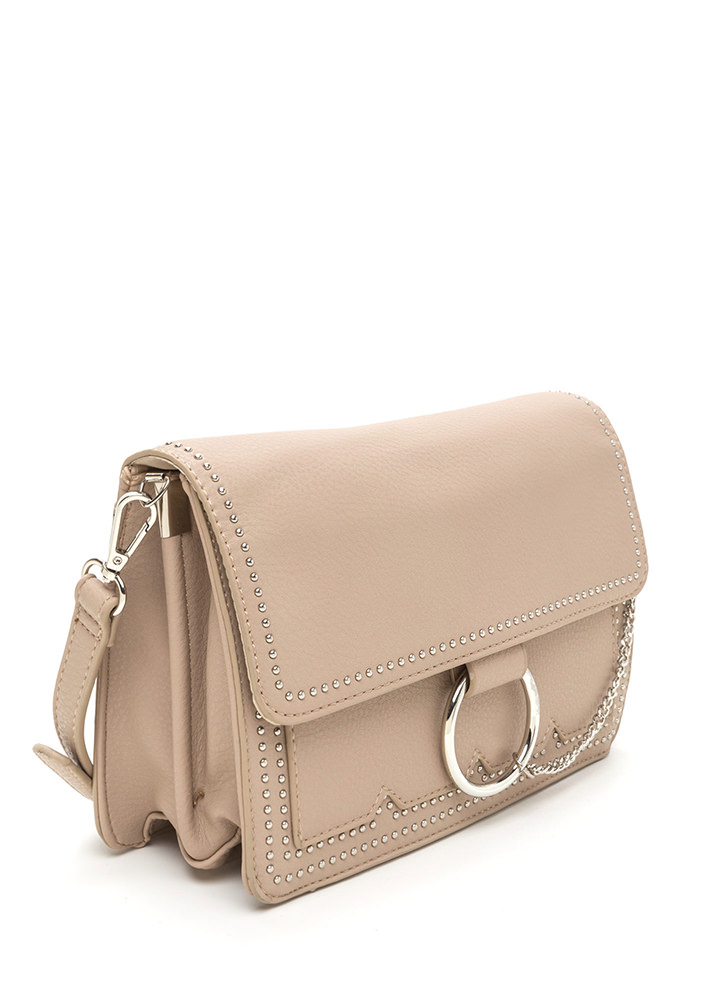 Chic Future Studded Ring 'N Chain Bag TAUPE