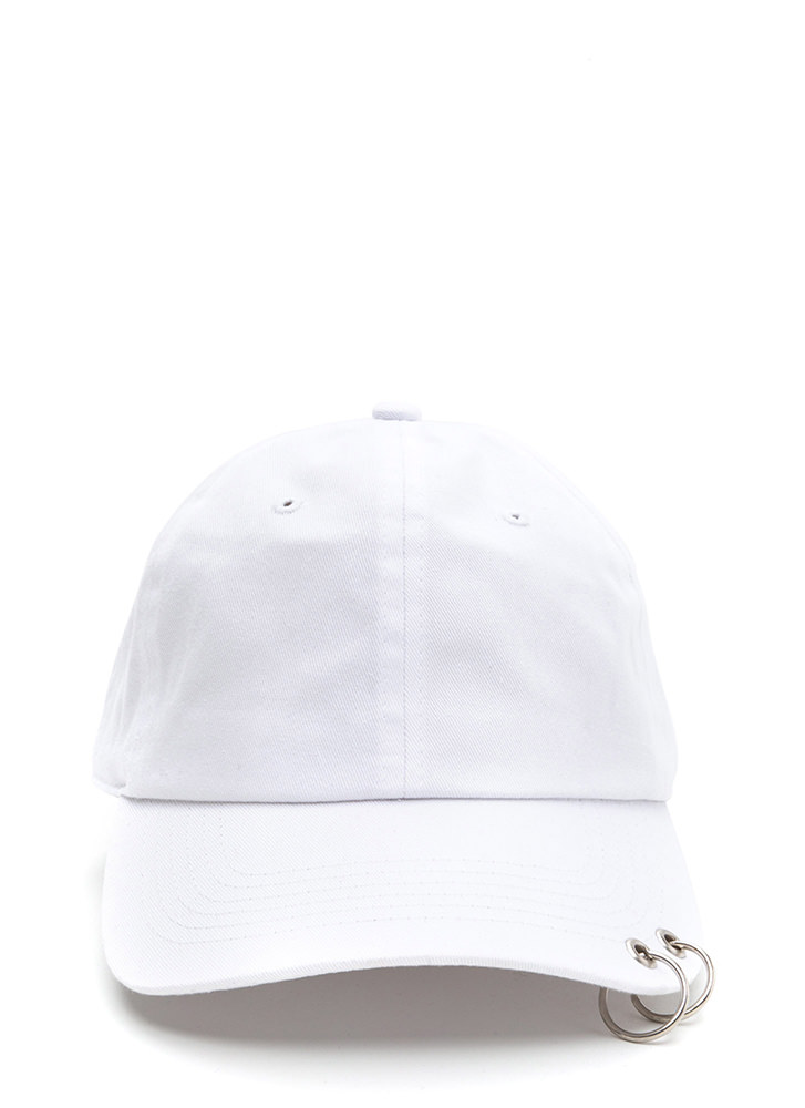 Double Feature Hoop Baseball Hat WHITE
