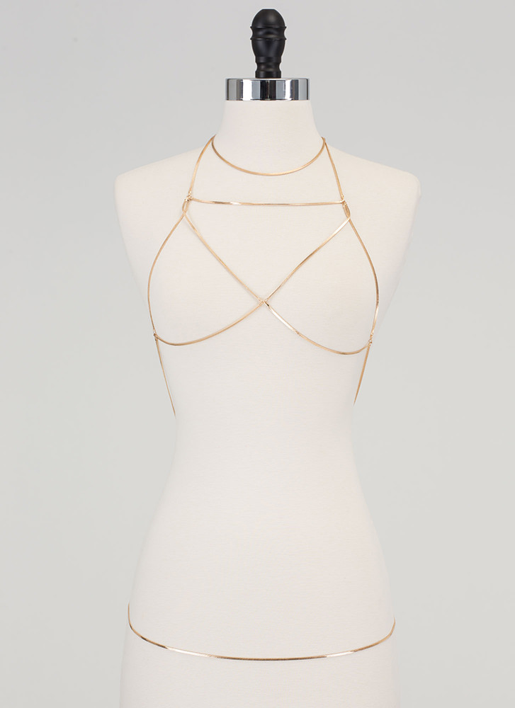 Strappy Days Herringbone Bodychain GOLD