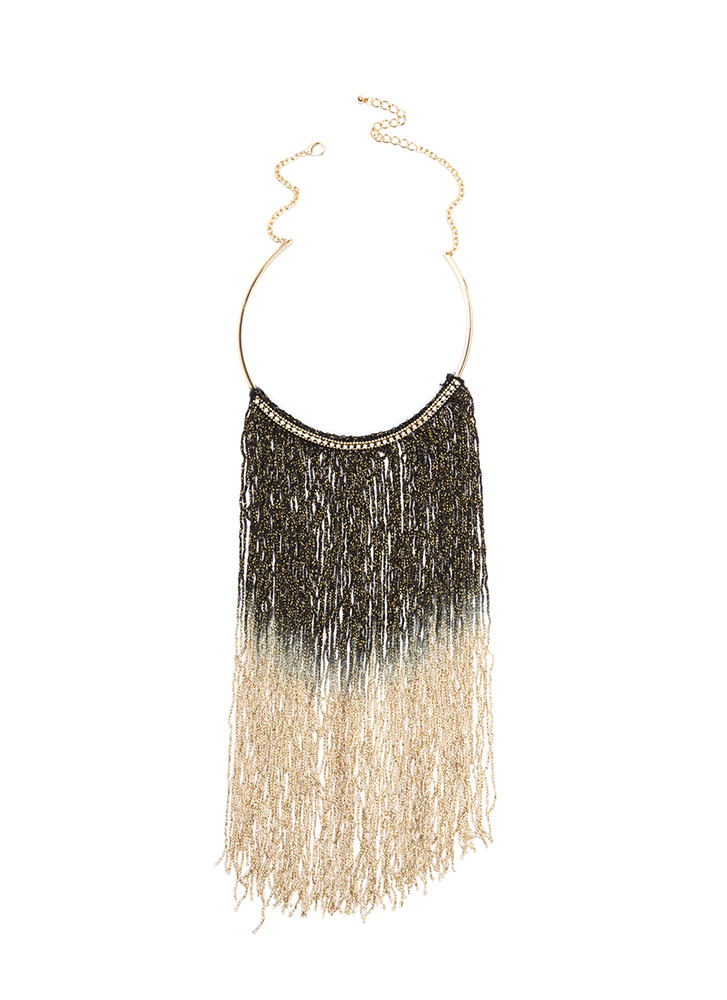 Good Ombre Fringe Collar Necklace GOLDBLACK