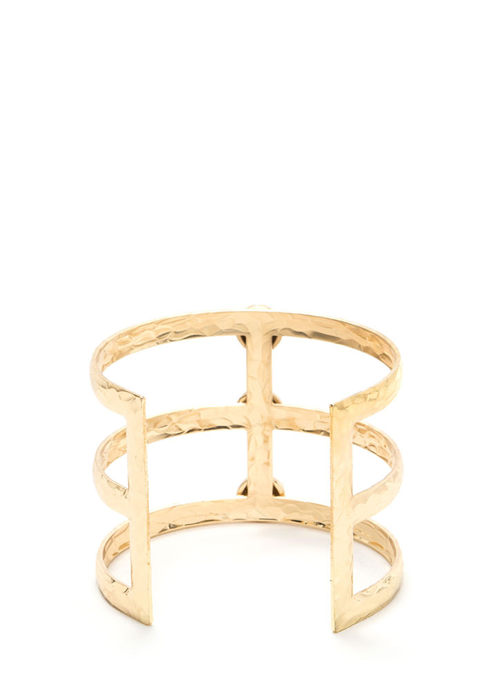 From The Glamazon Jeweled Caged Cuff GOLD