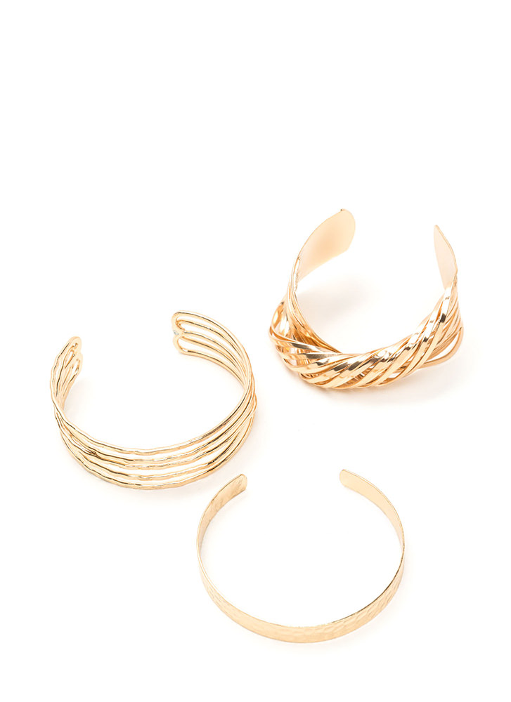 Fresh Mix Tape Textured Cuff Set GOLD