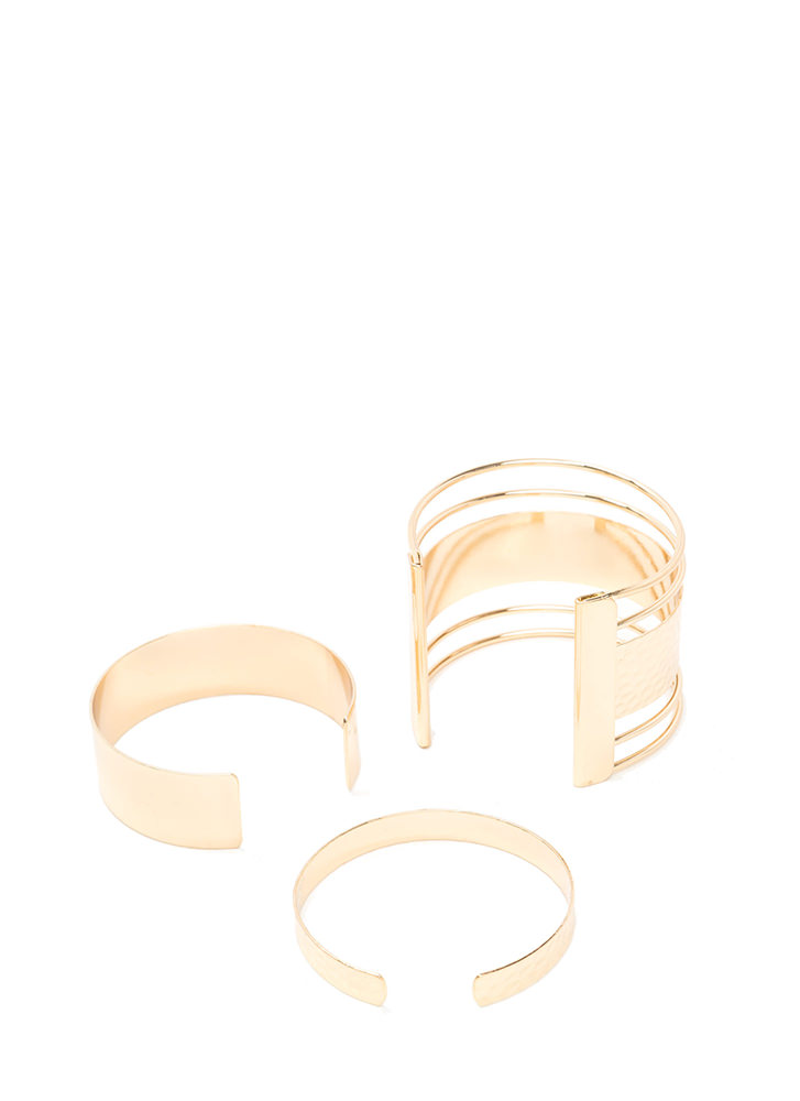 In Your Gleams Hammered Cuff Set GOLD