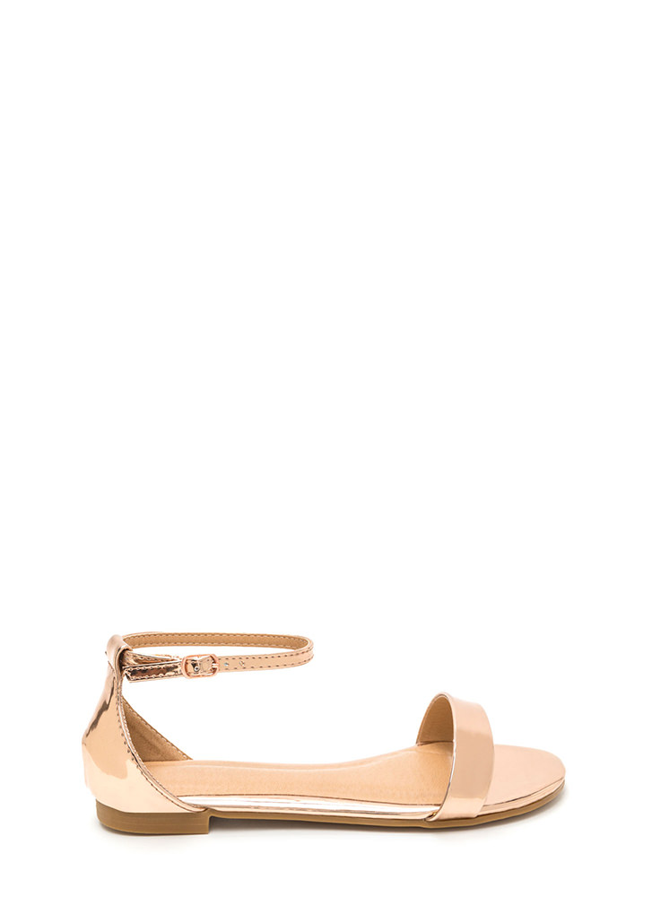 Strappy Feeling Metallic Sandals ROSEGOLD