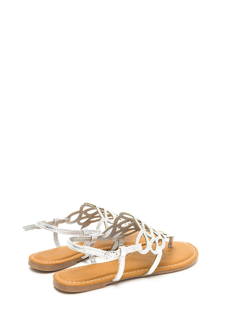 Gilded Love Cut-Out Metallic Sandals SILVER