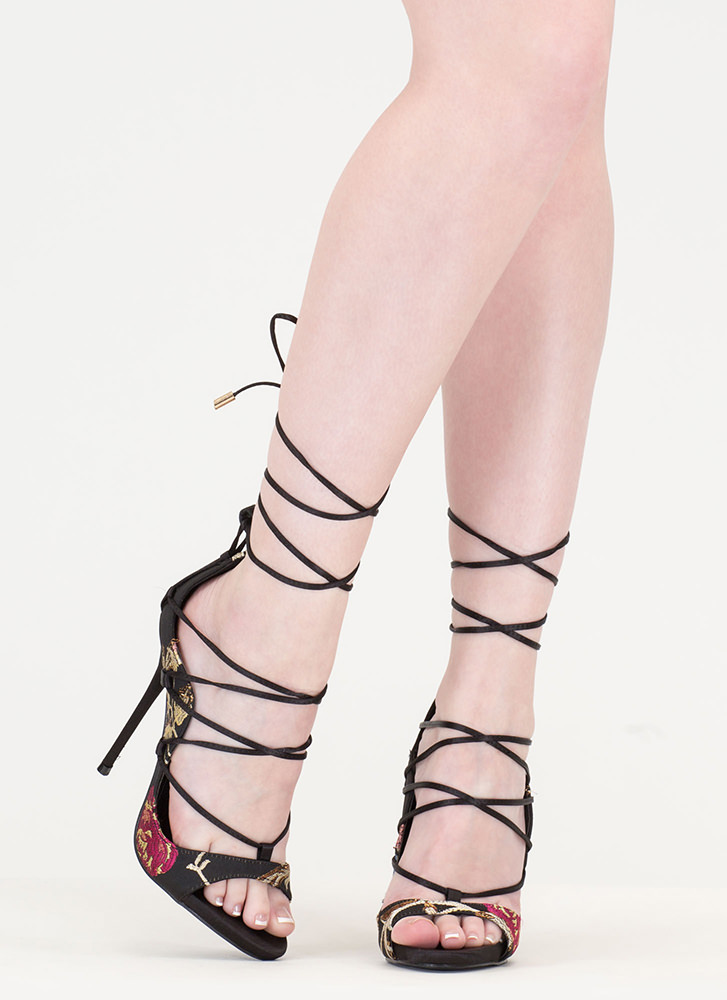 It Comes In Waves Floral Lace-Up Heels MULTI