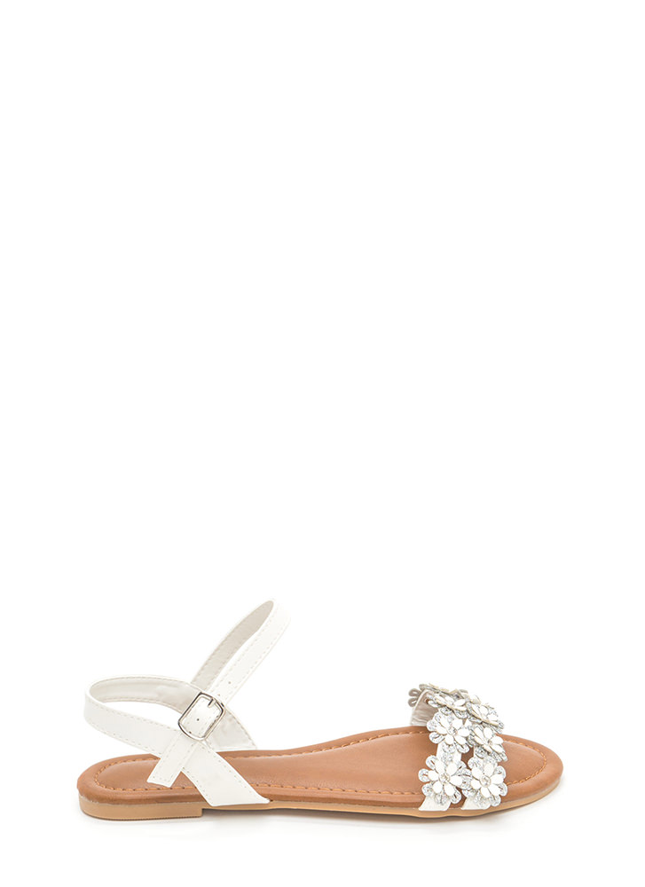 Did It Fleur You Shiny Strappy Sandals WHITE