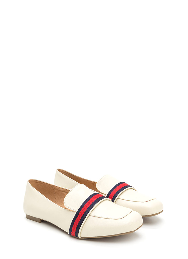 Prep School Striped Faux Leather Loafers IVORY