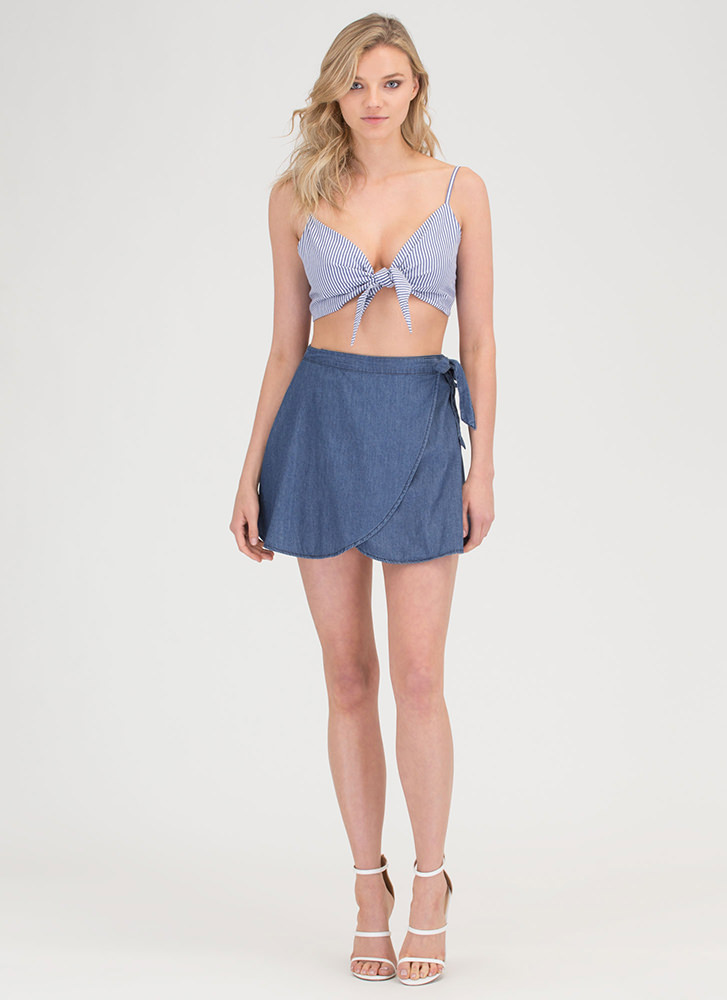 Breeze By Chambray Wrap Mini Skirt DKBLUE
