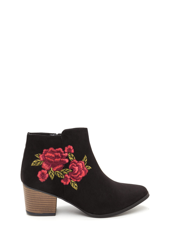 Silk Flowers Embroidered Booties BLACK