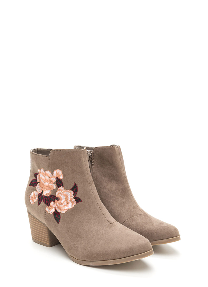 Silk Flowers Embroidered Booties TAUPE