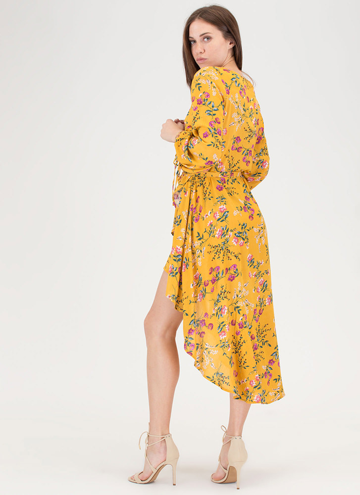 Floral Flow Faux Wrap High-Low Dress MUSTARD