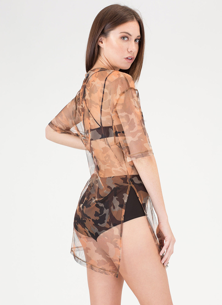 Barely There Sheer Camo Shirt Dress PEACH