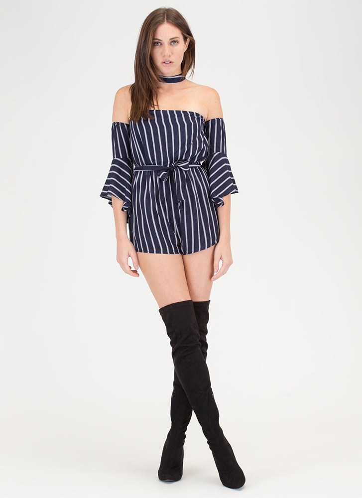 Lined Up Next Striped Choker Romper NAVY