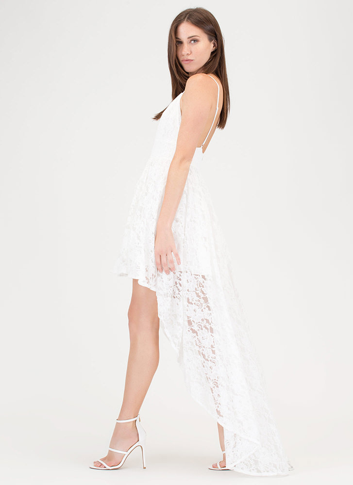 Lace Instinct High-Low Flared Dress IVORY