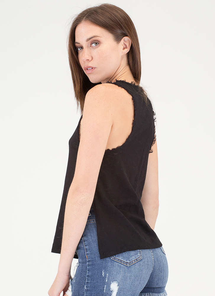 Fray On Double-Slit Tank Top BLACK