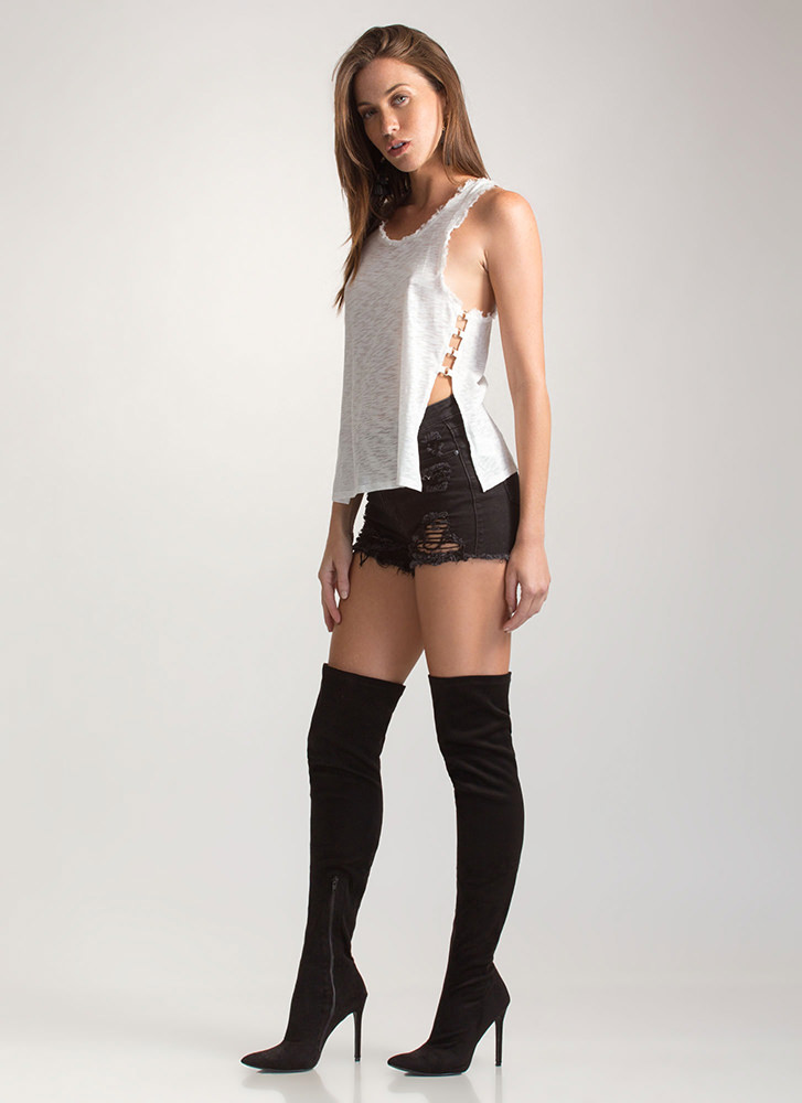 Fray On Double-Slit Tank Top IVORY