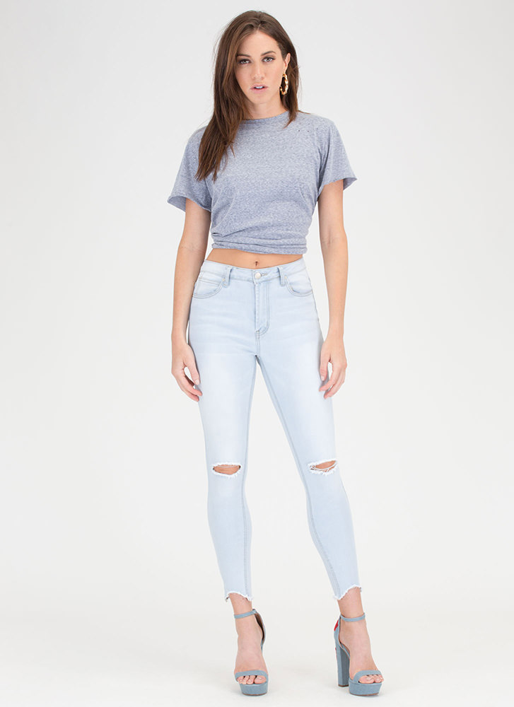 Carefree Day Slit Distressed Tee BLUE