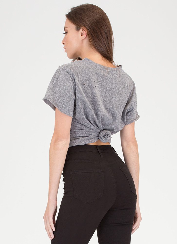 Carefree Day Slit Distressed Tee CHARCOAL