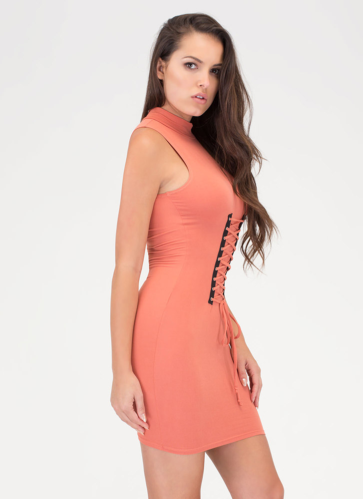 In Due Corset Lace-Up Mockneck Dress APRICOT