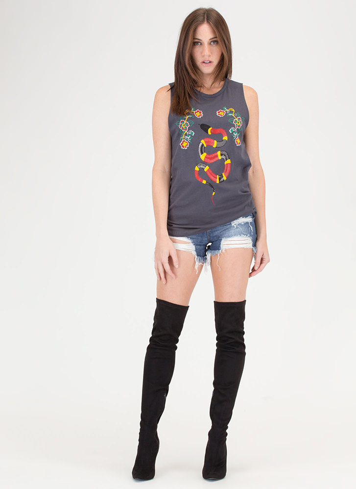 Snake Up Slashed Graphic Tank Top CHARCOAL