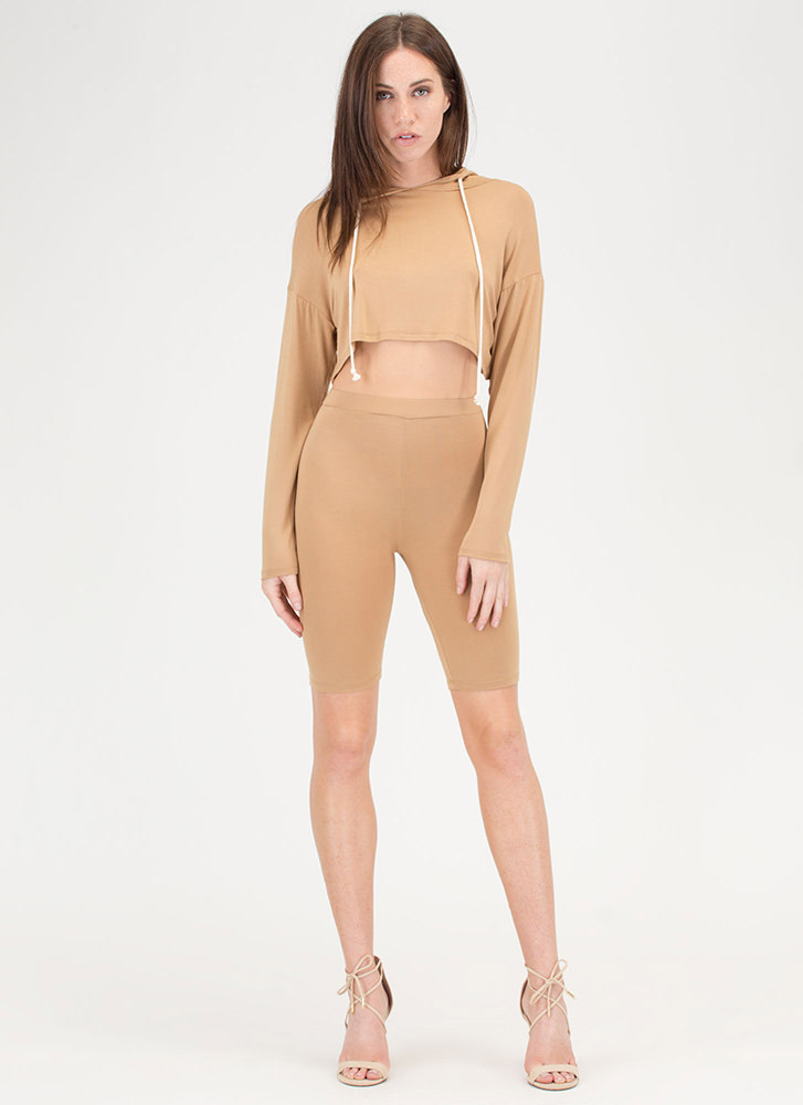 Hood Vibrations Crop Top And Shorts Set CAMEL