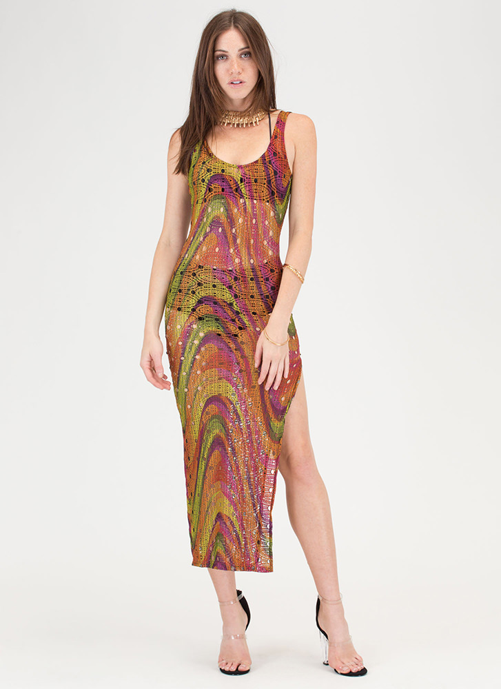 Psychedelic Design Netted Slit Maxi MULTI