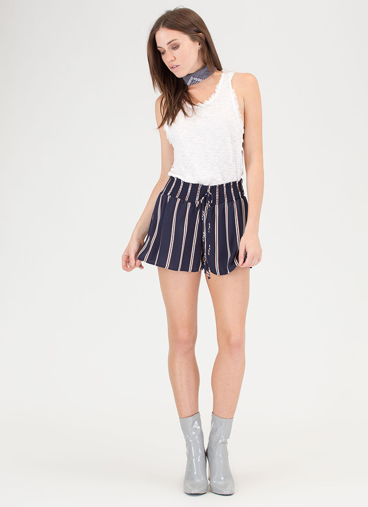 Stripe Now Contrast Shorts NAVY