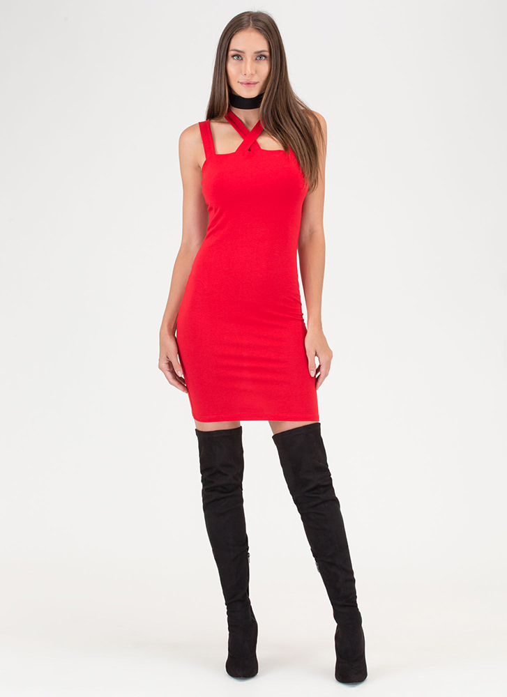 X Marks The Four Strap Midi Dress RED