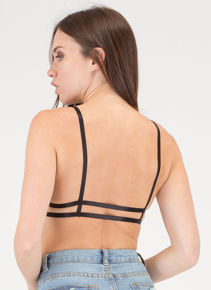 Lace You There Strappy Caged Bralette BLACK