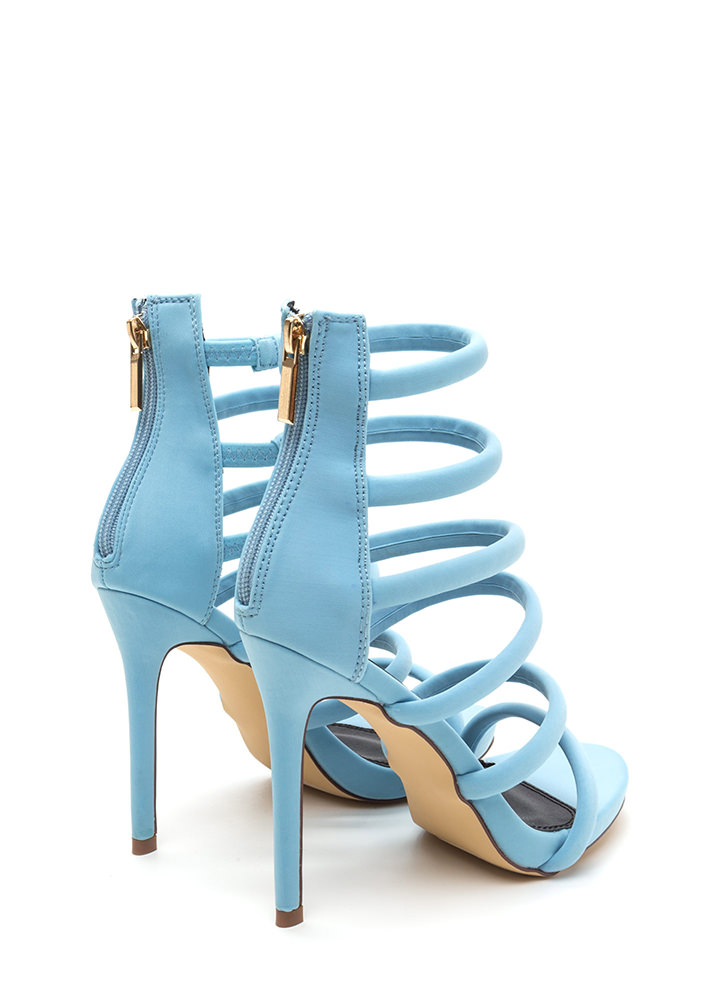 Six And Match Caged Stiletto Heels BLUE