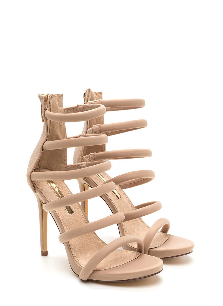 Six And Match Caged Stiletto Heels NUDE