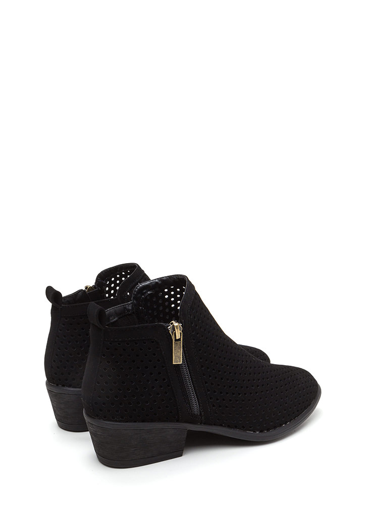 Everyday Chic Perforated Chunky Booties BLACK