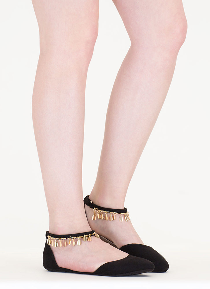 Good Gleam Faux Suede Flats BLACK