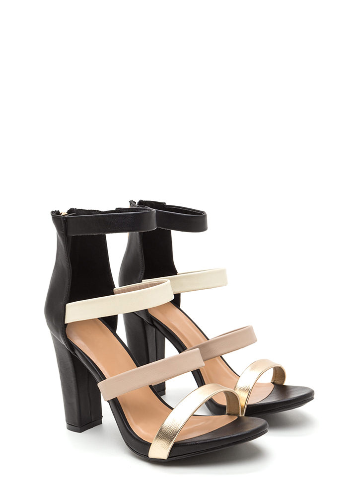 Mix It Up Strappy Caged Chunky Heels BLACK