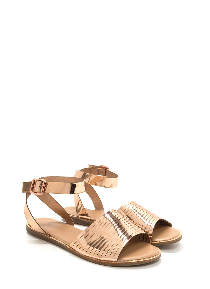 Vacay Chic Slit Metallic Sandals ROSEGOLD