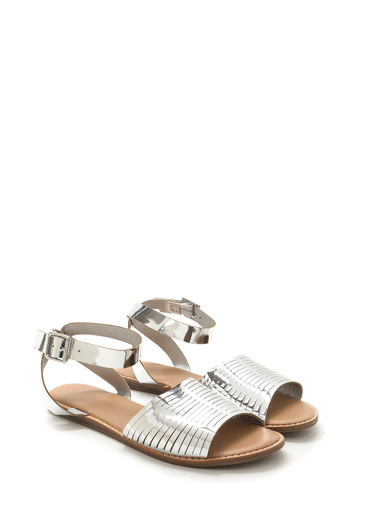 Vacay Chic Slit Metallic Sandals SILVER